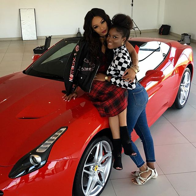......it's a wrap!!! Awesome day.... Shout out to the girl with the magic hands @solangehairandbeautyshop.... Love ya!! 😍❤️👑🐝 #BehindTheScenes #BeingBonang #Ferrari #blackgirlmagic