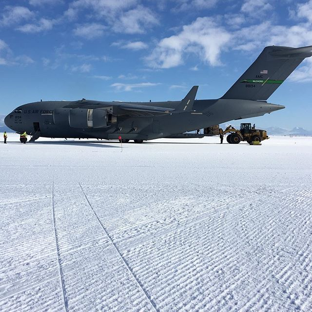 Flight out C-17 #Antarctica from the sea ice