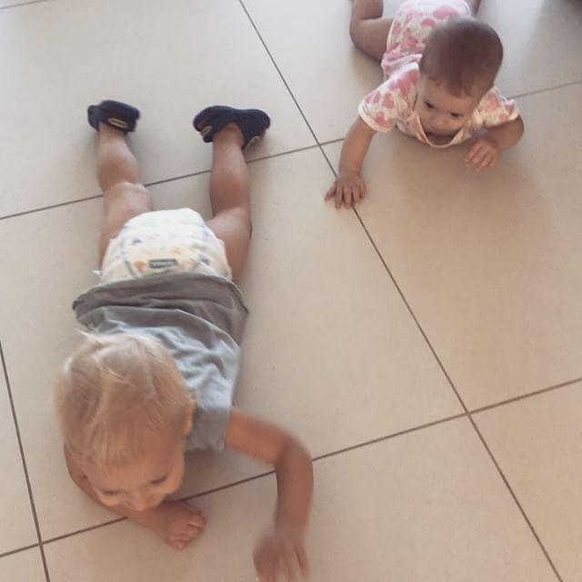Wolf teaching Sass how to crawl 😭