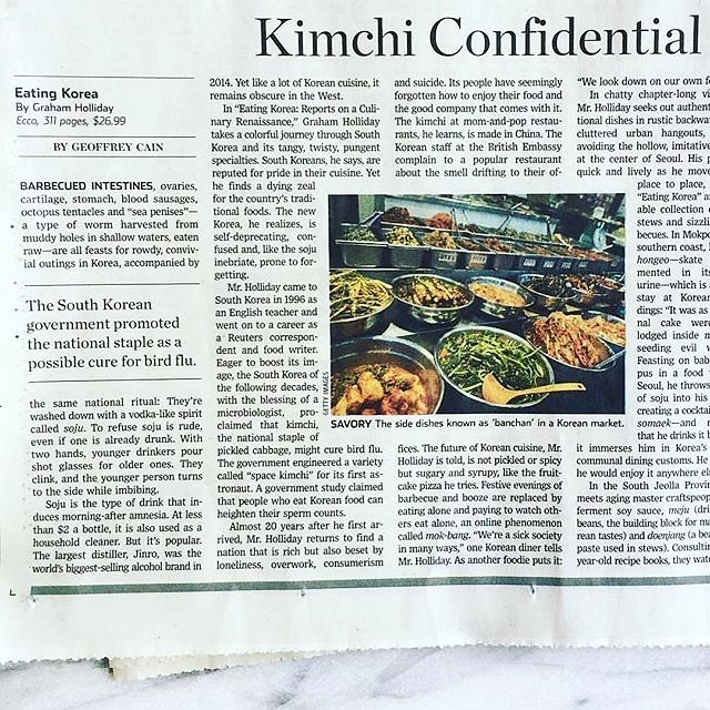 repost @NoodlePie: A review of my Eating Korea book in the @wsj. #eatingkorea #koreanfood #bookreview #wsj photo @andreanguyen88