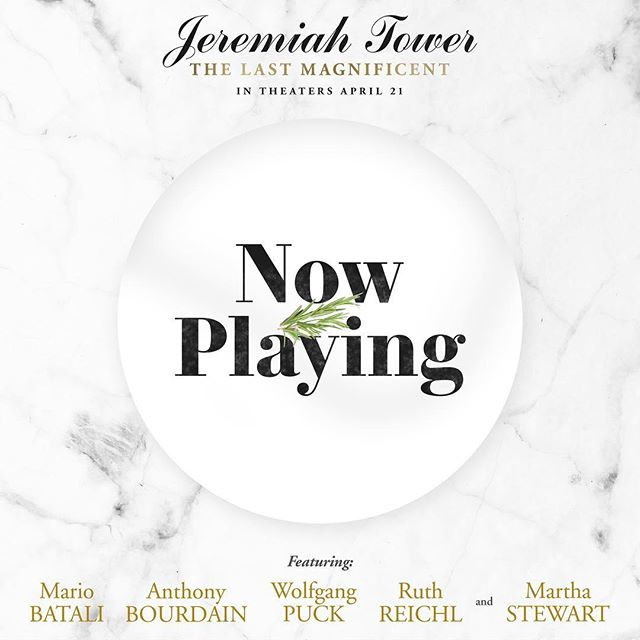 Jeremiah Tower: #TheLastMagnificent OPENS TODAY in select theaters in NY and LA! Q&A tonight after 7:15pm screening @SunshineCinema with Jeremiah Tower, Lydia Tenaglia @zpzproduction, and @ericripert. Link in bio.