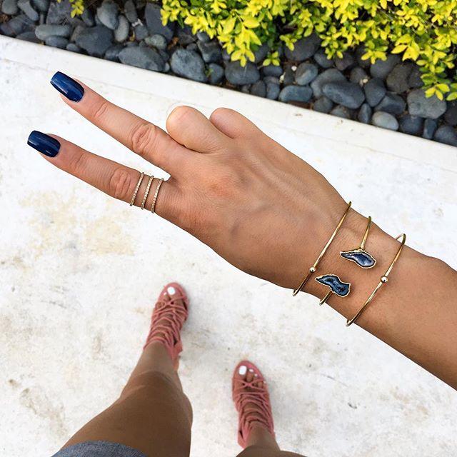 24k Navy stone cuff bracelet designed by @leslie.francesca 💙