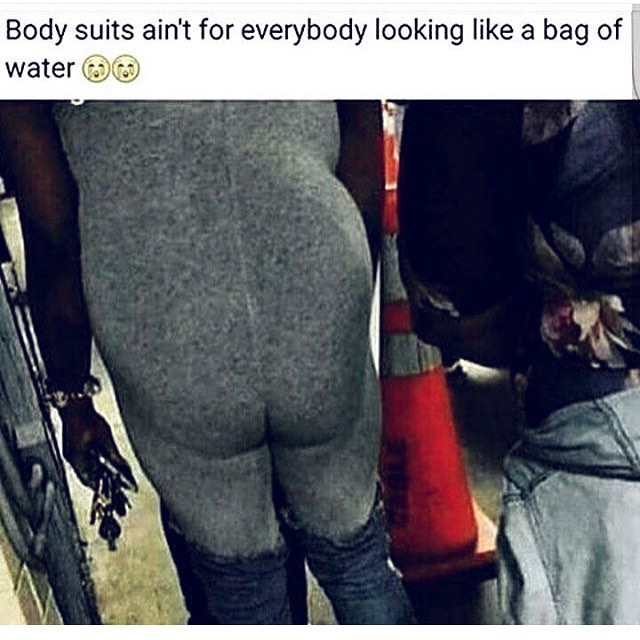 This shit annoys me. What if she was just a normal girl minding her own business.. yet someone has decided to take a pic of her and shame her. Everyone should be able to wear whatever the hell they want without being shamed. If you wanna wear a body suit/jump suit, it's no one else's concern 🙄