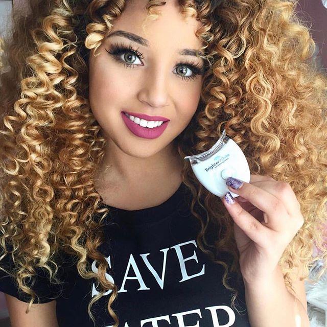 Back using my fav @Brighterwhite teeth whitening kit! This product has whitened my smile so much 😬#BrighterWhite