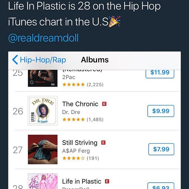 OH SHITTTTTTTT !!!!!!! I CANNOT BELIEVE THIS MY FUCKING HARD WORK AND DEDICATION IS #28 on the ITUNES CHAT 🔥🔥🔥🔥🔥🔥#LIFEINPLASTIC THANK YOU EVERYONE THATS SUPPORTING ME. MAKE WAY CAUSE IM COMING THRUUU 😊