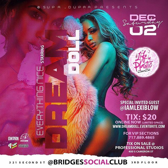 Saturday December 2nd I'm in Harrisburg PA hosting @BridgesSocialClub s/o @supa_dupaa @artisticcurves ... #LifeInPlastic OUT NOW!! #Itunes #Spotify #AppleMusic #Tidal #AmazonMusic #GwininEntertainment #ArtisticCurves